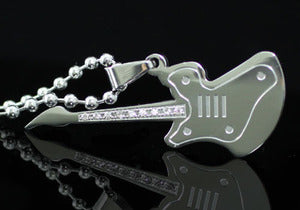 Guitar Stainless Steel Mens Pendant Necklace MP143
