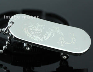 Silver Dragon Skateboard Stainless Steel Mens Pendant Necklace MP159