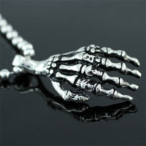 Skeleton Hand Stainless Steel Mens Pendant Necklace MP168
