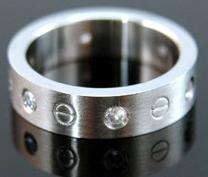 Mens CZ Simulated  Studs Solid Stainless Steel Mens Ring MR021