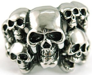 Gothic 10 Skull Heads Stainless Steel Mens Ring MR037