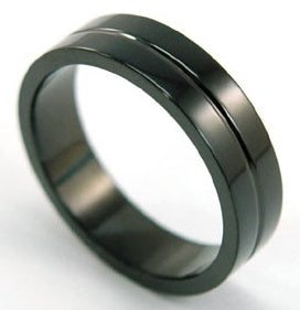 Hip Hop Plain Black Stainless Steel Mens Ring MR039