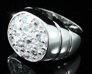 Cubic Zirconia Stud 18K White Gold Plated Mens Ring XMR050
