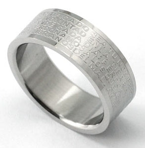 Religious Cross Bible Quote Stainless Steel Mens Ring MR066