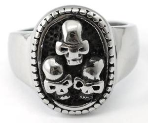 Gothic Three Skulls Stainless Steel Mens Ring R067