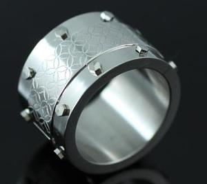 Ancient Chinese Coin Pattern Design Stainless Steel Mens Ring XMR069