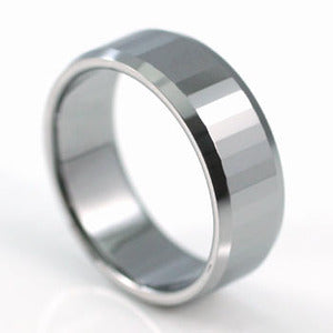 Hip Hop Polish Light-Reflective Tungsten Round Band Mens Ring MR074