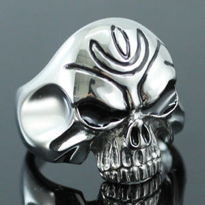 Gothic Skull Head No Jaw Stainless Steel Mens Ring MR075