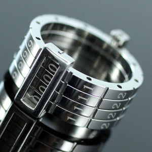 Four Digit Custom Combinations Code Password Stainless Steel Mens Ring MR078