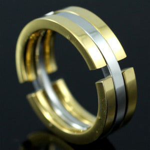 Silver Gold Tone Transformable Stainless Steel Mens Ring MR083