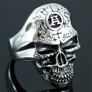 Ancient Skull Head Biker Stainless Steel Mens Ring XMR086