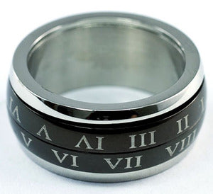 Custom Roman Numbers Stainless Steel Spin Mens Ring XMR090
