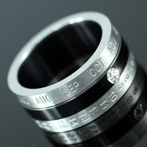 Custom Calendar Date Stainless Steel Spin Mens Ring XMR092