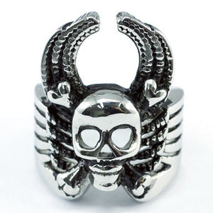 Skull Head Cross Bone Flying Wings Stainless Steel Mens Ring MR101