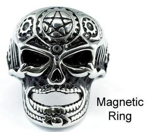 Skull Head Star Design Magnetic Therapy Stainless Steel Mens Ring MR102