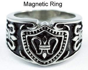 Vintage Gothic Cross Design Magnetic Therapy Stainless Steel Mens Ring MR103