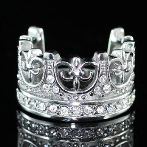Royal Crown Cross Ring Cubic Zirconia Studs Stainless Steel Mens Ring MR104