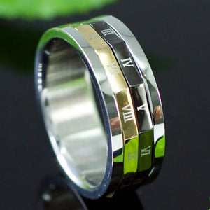 Gold & Silver Tone Roman Numbers Stainless Steel Spin Mens Ring MR113