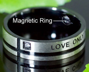 Love Only You Cubic Zirconia Magnetic Health Stainless Steel Band Mens Ring MR114