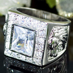 Cubic Zirconia Studs 18K White Gold Plated Wedding Mens Ring XMR121