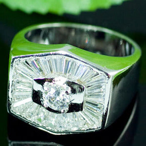 Hexagon Cubic Zirconia Studs 18k White Gold Plated Wedding Mens Ring MR124