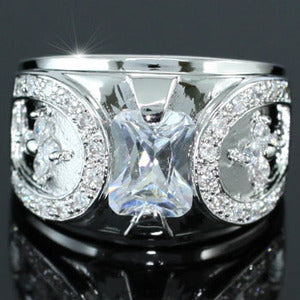 Cubic Zirconia Studs White Gold Plated Champion Mens Ring XMR133