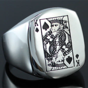 Poker Card King Stainless Steel Magnetic Mens Ring MR136