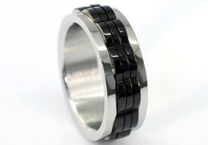 Hip Hop Black Links Stainless Steel Spin Mens Ring MR145