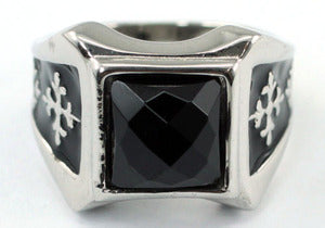 Gothic Cross Black Agate Stud Magnetic Health Stainless Steel Mens Ring MR156