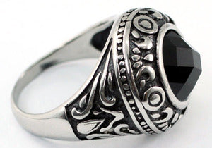 Gothic Round Black Agate Magnetic Health Stainless Steel Mens Ring MR159