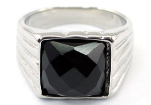 Gothic Black Agate Magnetic Health Stainless Steel Mens Ring MR161