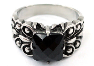 R&B Gothic Black Agate Magnetic Health Stainless Steel Mens Ring MR162