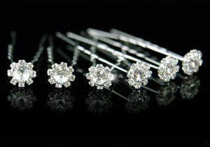 6 X Bridal Wedding Flower Rhinestone Hair Pins XP1050