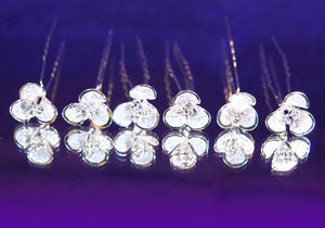 6 X Bridal Wedding Flower Rhinestone Hair Pins XP1056