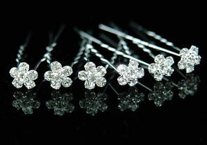 6 X Wedding Bridal Flower Crystal Hair Pins XP1066