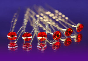 6 pcs X Bridal Wedding Red Crystal Hair Pins XP1071