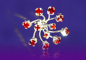 6 X Bridal Wedding Flower Red Crystal Hair Pins XP1081