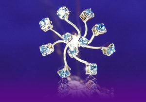 6 X Bridal Wedding Flower Blue Crystal Hair Pins XP1082