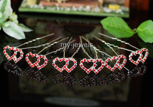 6 pcs X Bridal Wedding Double Hearts Red Rhinestone Hair Pins XP1086