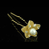 6 pcs X Bridal Gold Plated Pearl Crystal Flower Hair Pins XP1121