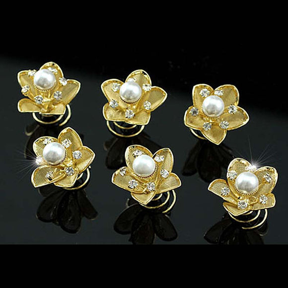 6 pcs X Gold Pearl Crystal Flower Hair Twists XP1135