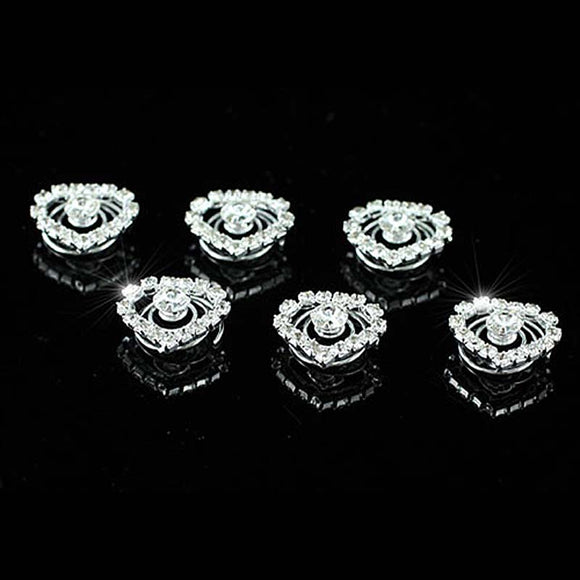 6 pcs X Bridal Wedding Crystal Heart Hair Twists XP1139