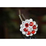6 pcs Set X Bridal Red Flower Crystal Hair Pins XP1148