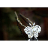 6 pcs Set X Wedding Butterfly Crystal Hair Pins XP1149