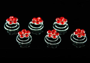 6 pcs X Bridal Red Flower Crystal Rhinestone Hair Twists XP1112