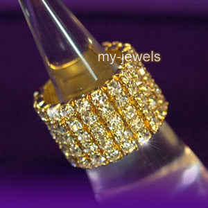 5 Row Stretch Bridal Wedding Fashion Rhinestone Gold Ring R906