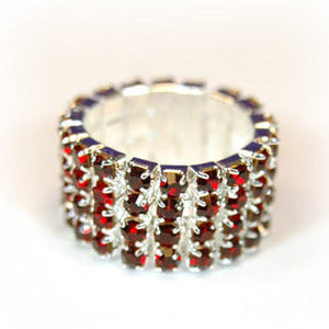 4 Row Dark Red Stretch Bridal Fashion Rhinestone Ring XR920