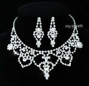 Bridal Party Queen Pageant Crystal Necklace Earrings Set XS1066