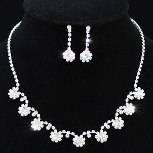 Bridal Crystal Rhinestone Necklace Earrings Set XS1088