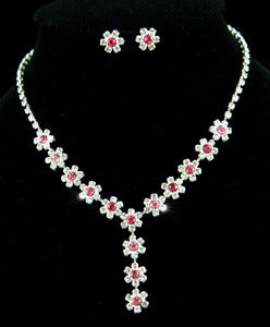 Bridal Wedding Party Dangle Pink Flower Crystal Necklace Earrings Set XS1118